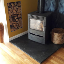 90x90 Black Brazilian slate hearth