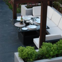 Alfresco dining with Black Brazilian slate flooring