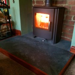 Black Brazilian slate hearth 1