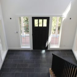 Black Brazilian slate tiles on house_s front entrance