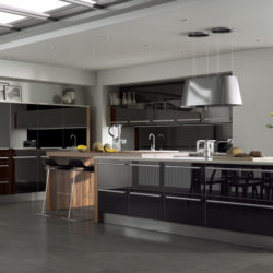 Contemporary kitchen with Grey-Green Brazilian slate floor