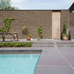 Grey-Green Brazilian slate around pool area