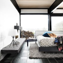 NIce bedroom with Black Brazilian slate floor