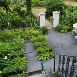 Traditional Garden with Black Brazilian floor modern twist