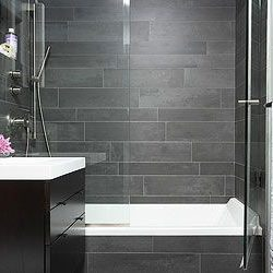 Bathroom idea with Black Brazilian slate strips